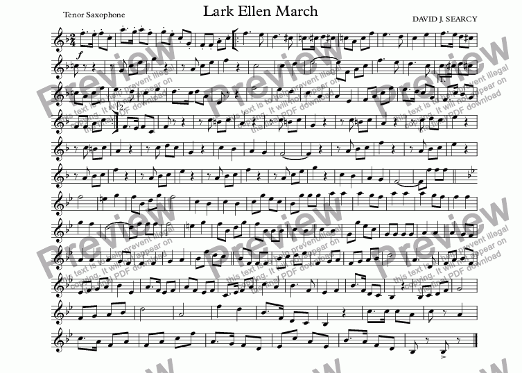 page one of the Tenor Saxophone part from Lark Ellen March