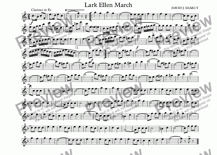page one of the Clarinet in E^b part from Lark Ellen March