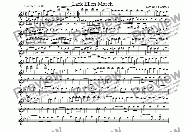 page one of the Clarinet 1 in Bb part from Lark Ellen March