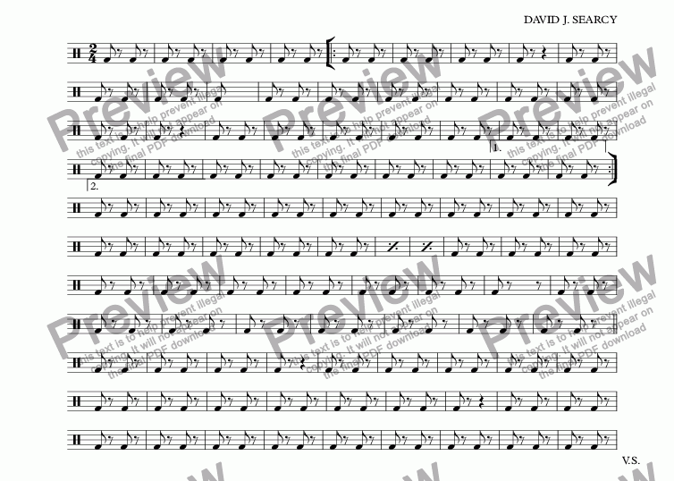 page one of the Marching Bass Drum part from Lark Ellen March