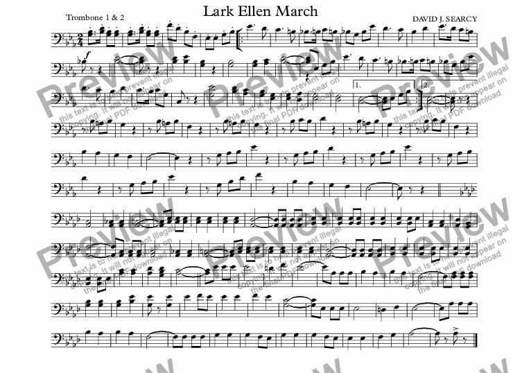 page one of the Trombone 1 & 2 part from Lark Ellen March