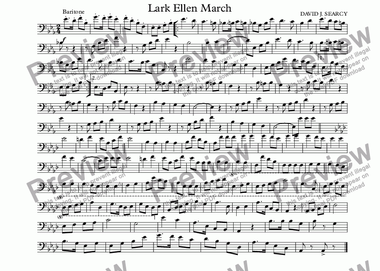 page one of the Baritone part from Lark Ellen March