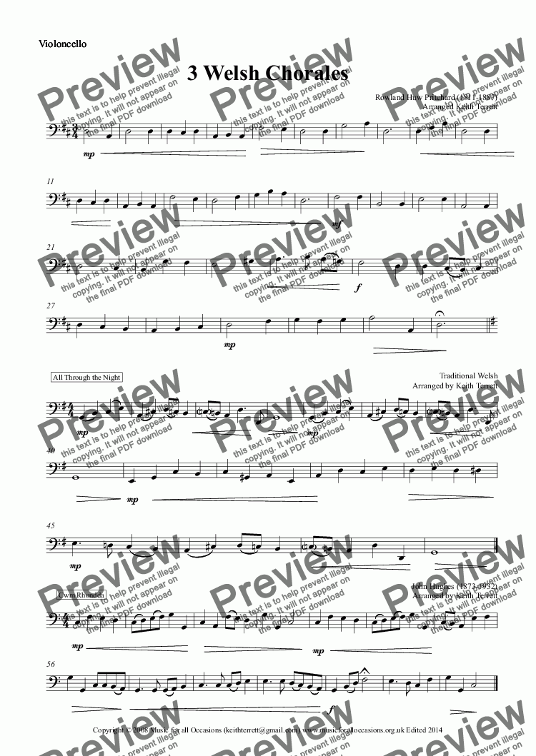 page one of the Violoncello part from Three Welsh Chorales for String Orchestra