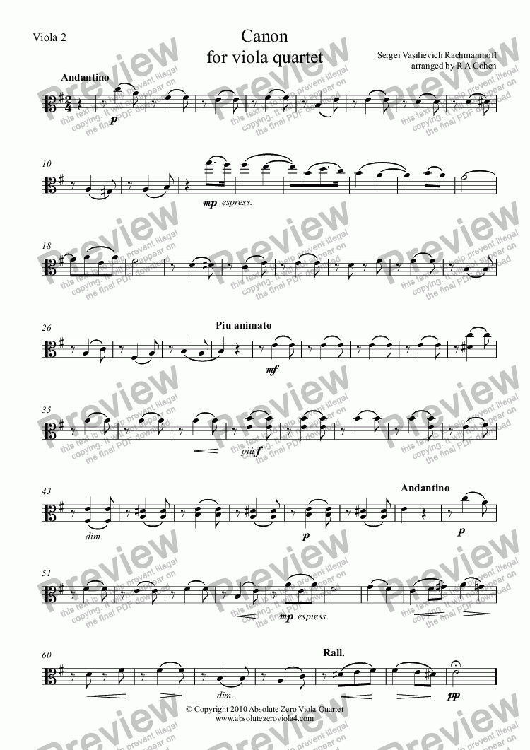 page one of the Viola 2 part from Rachmaninov - CANON - for viola quartet