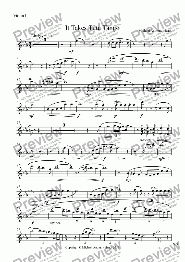 page one of the Violin I part from It Takes Tutu Tango