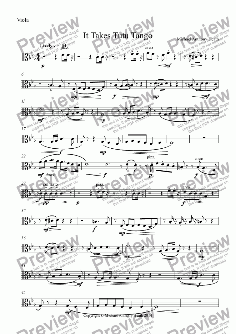 page one of the Viola part from It Takes Tutu Tango