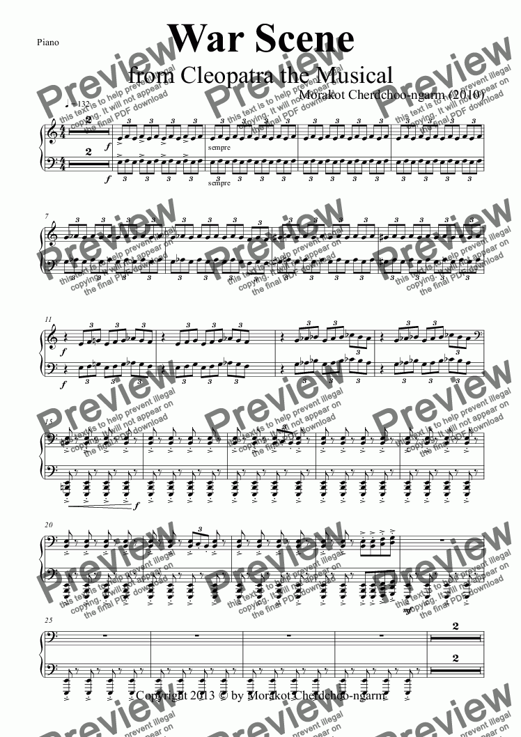 page one of the Piano part from War Scene  from Cleopatra the Musical