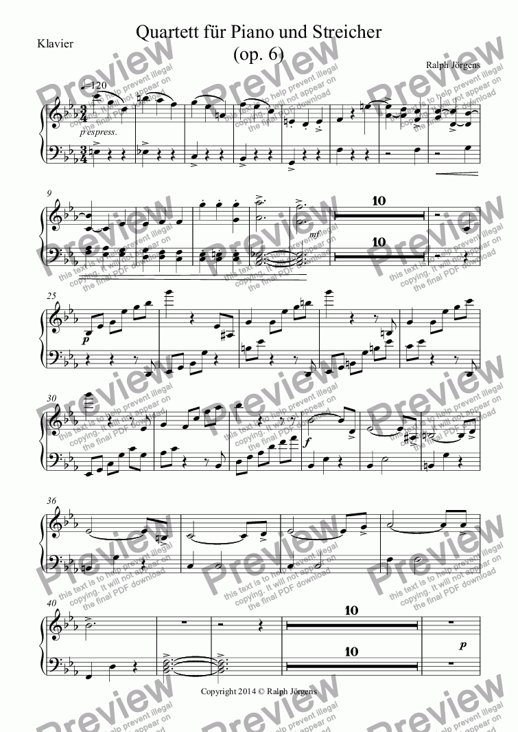 page one of the Klavier part from Quartett für Piano und Streicher (op. 6)