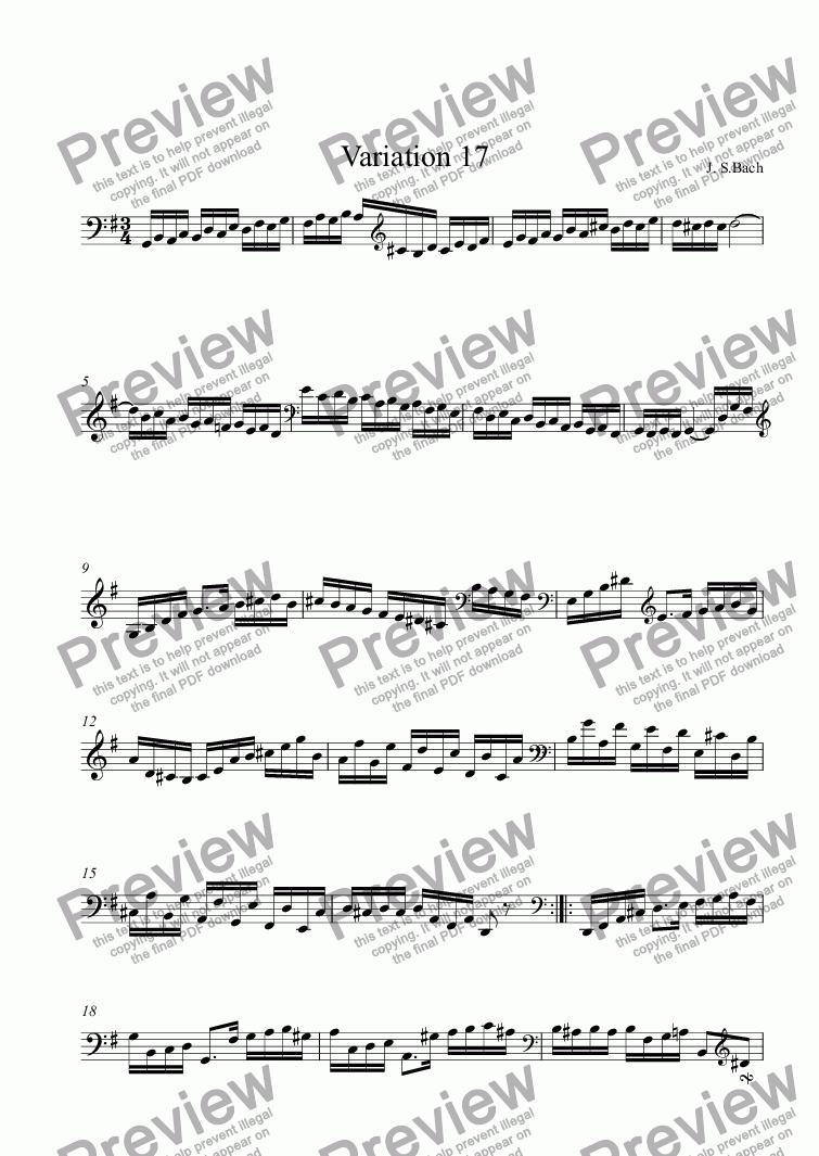 page one of the [treble staff] part from J.S.Bach - Goldberg Variations  17
