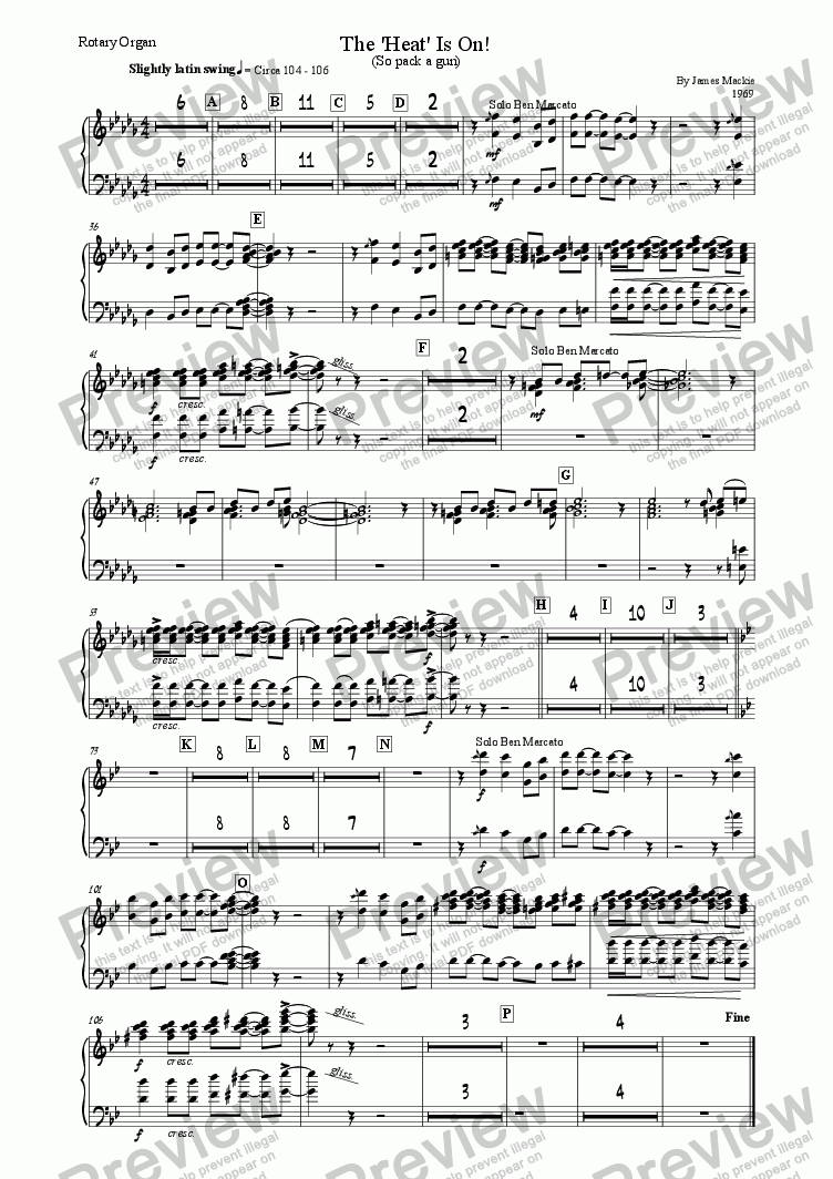 page one of the Rotary Organ part from The Heat Is On
