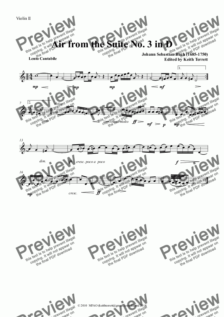 page one of the Violin II part from Air from the Suite No. 3 in D English Horn & Keyboard