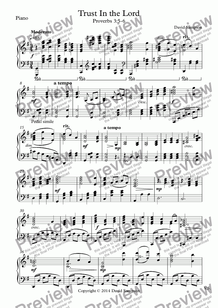 page one of the Piano part from Trust In the Lord
