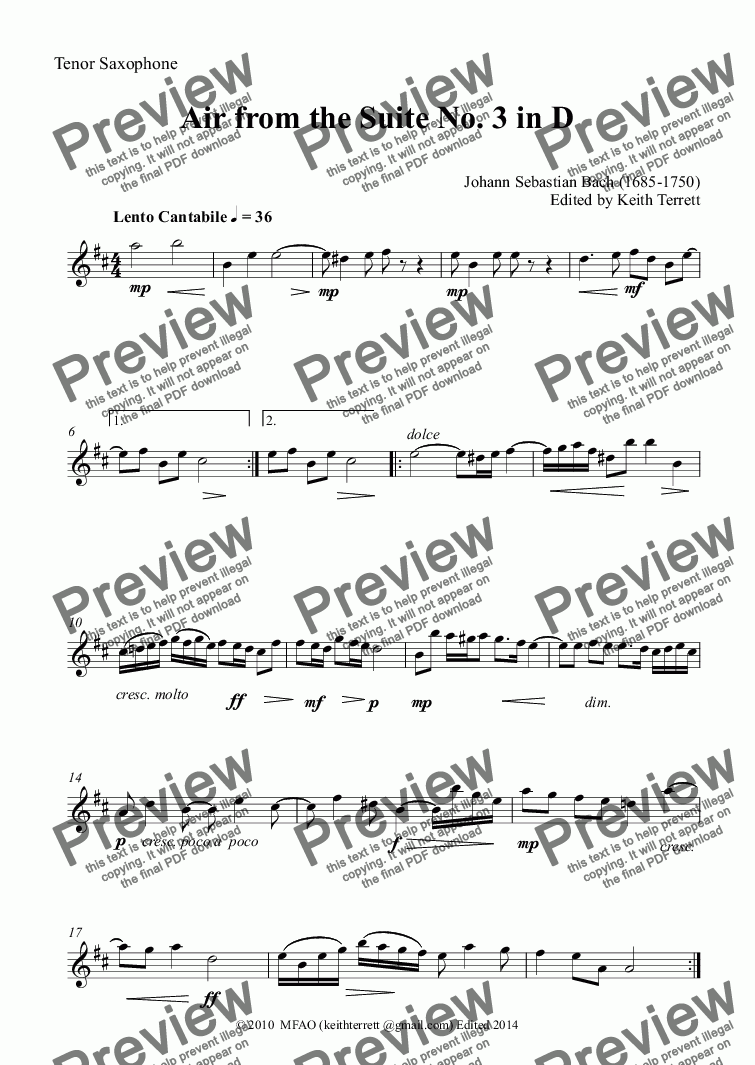 page one of the Tenor Saxophone part from Air from the Suite No. 3 in D for Saxophone Quartet
