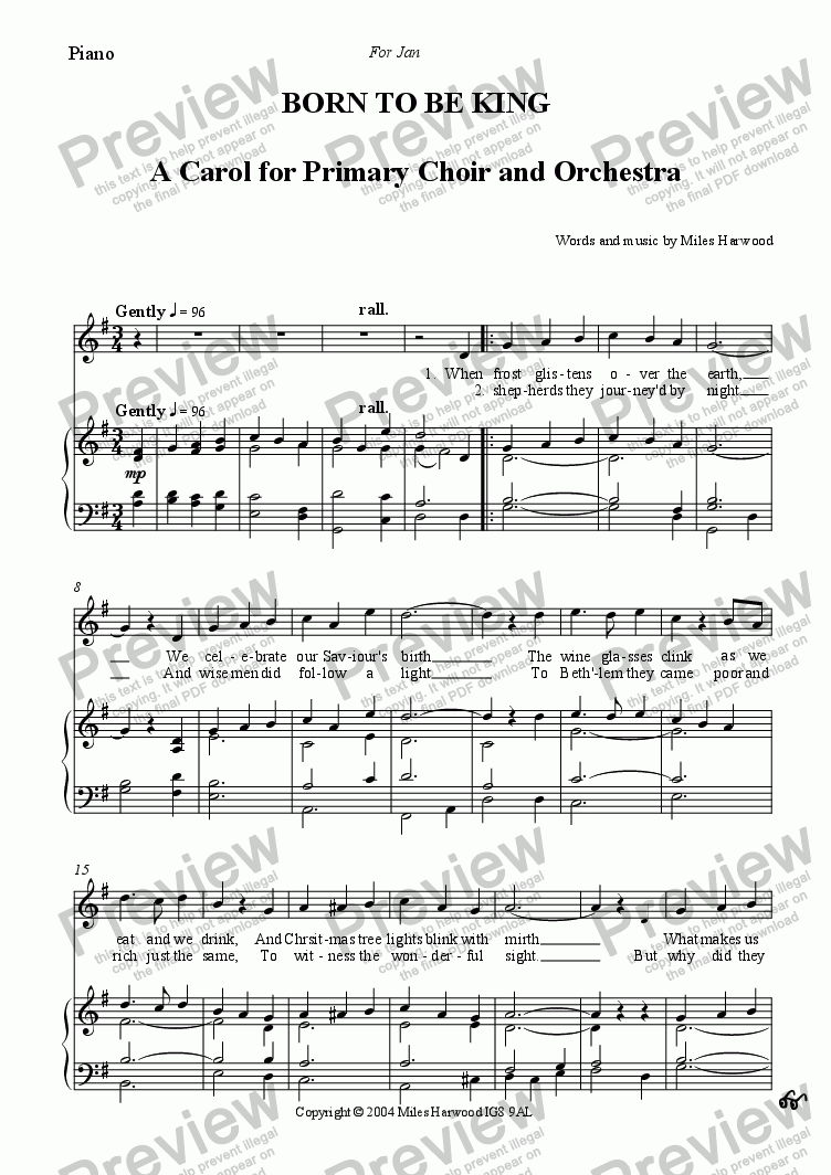 page one of the Piano part from Born to be King Op.6