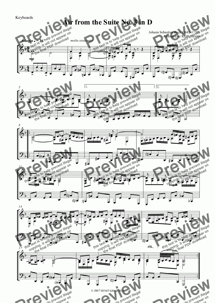 page one of the Keyboards part from Air from the Suite No. 3 in D for Bassoon & Keyboard