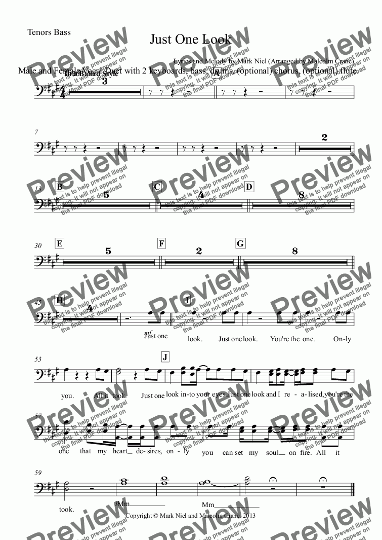page one of the Tenors Bass part from Just One Look (Full Score)