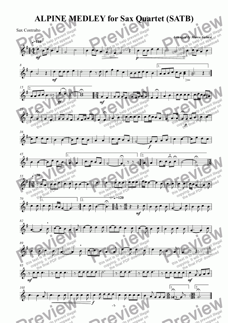 page one of the Sax Contralto part from ALPINE MEDLEY for Sax Quartet (SATB)
