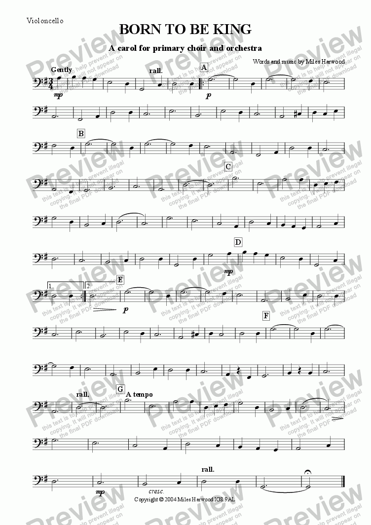 page one of the Violoncello part from Born to be King Op.6