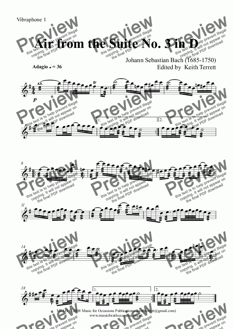 page one of the Vibraphone 1 part from Air from the Suite No. 3 in D for Marimba Quartet