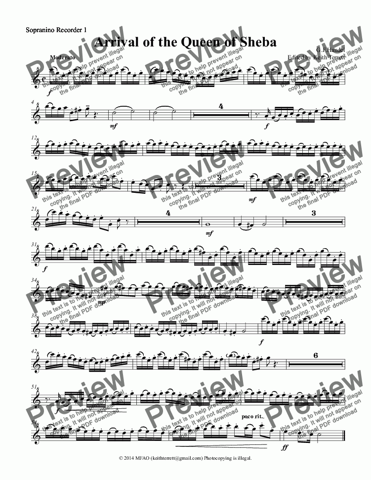 page one of the Sopranino Recorder 1 part from Arrival of the Queen of Sheba for Recorder Orchestra