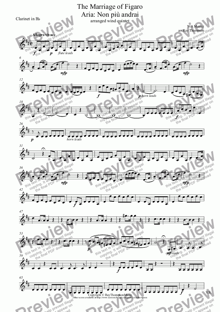 "page one of the Clarinet in B^b part from Mozart: Aria ""Non Più Andrai""  (in a Military Style) from The Marriage of Figaro (arranged wind quintet)"