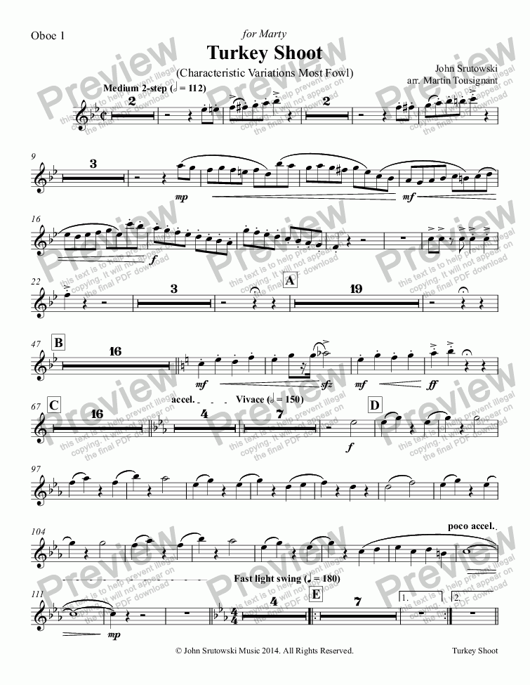 page one of the Oboe 1 part from Turkey Shoot