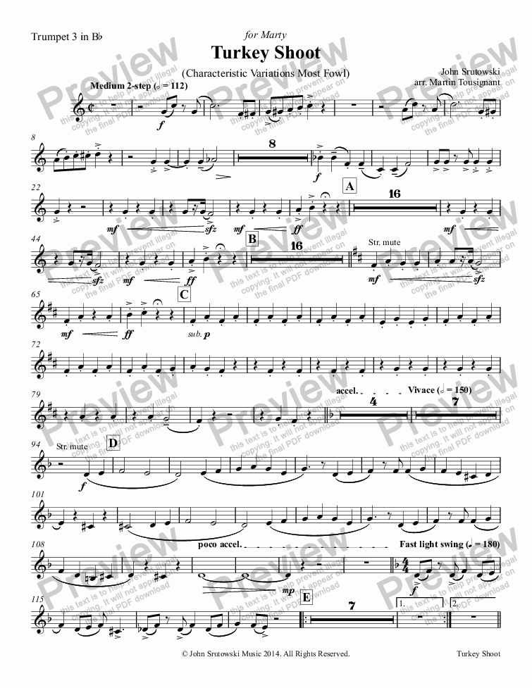 page one of the Trumpet 3 in Bb part from Turkey Shoot
