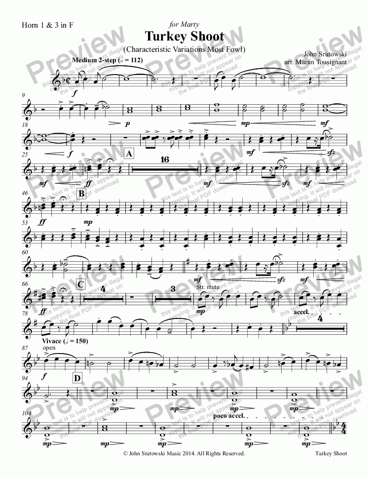 page one of the Horn 1 & 3 in F part from Turkey Shoot