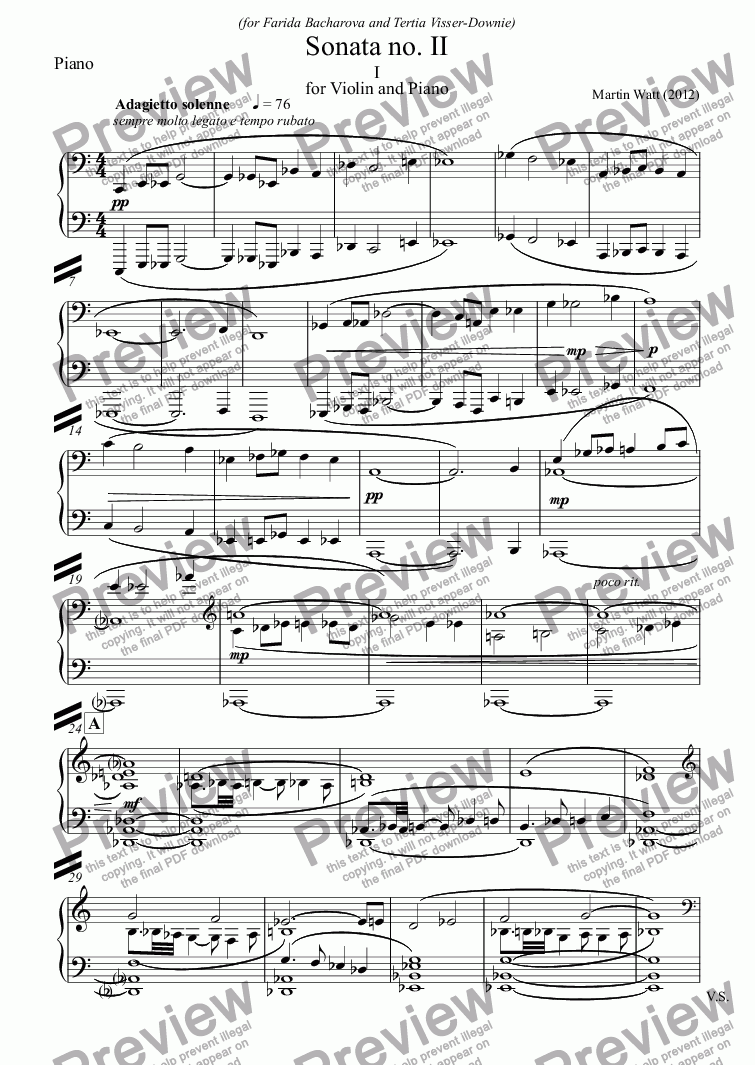 page one of the Piano part from Sonata no. II