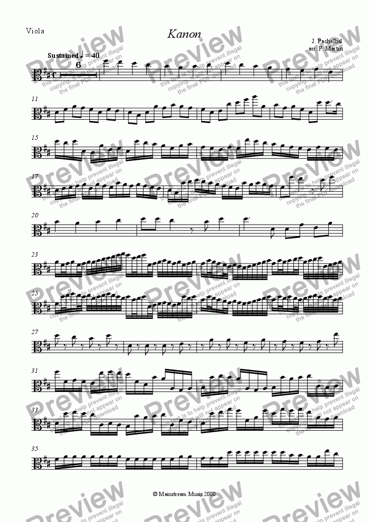 page one of the Viola part from Kanon