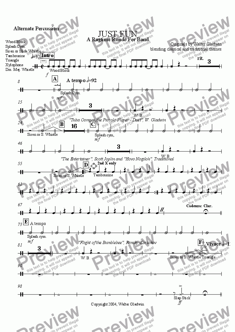 page one of the Alternate Percussion part from Just Fun: A Ragtime Rondo For Band