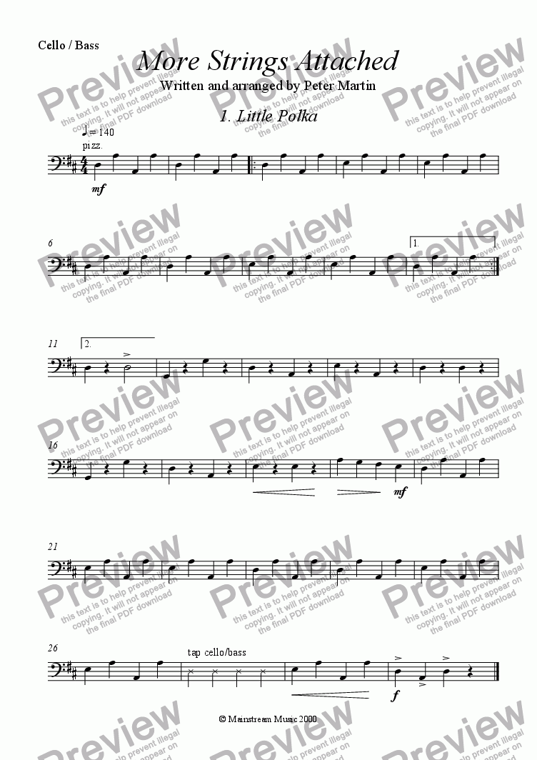 page one of the Cello/Bass part from More Strings Attached
