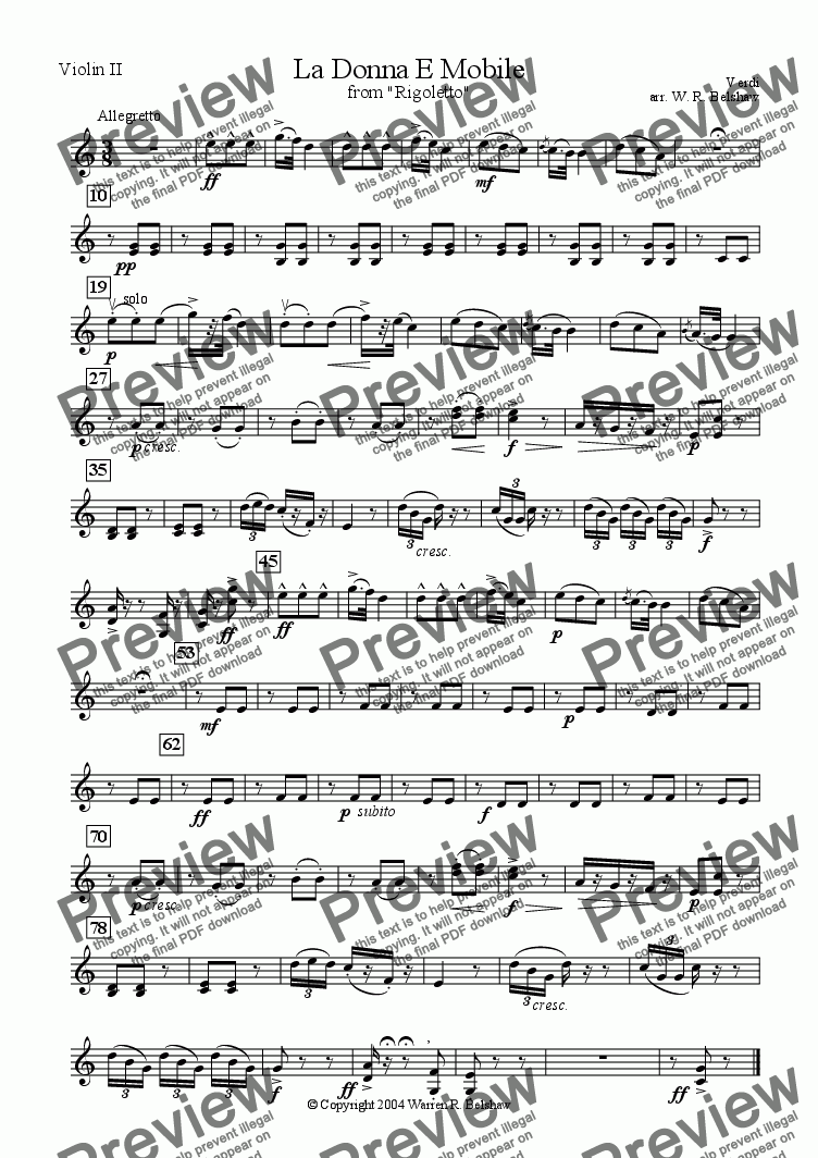 page one of the Violin 2 part from La Donna E Mobile