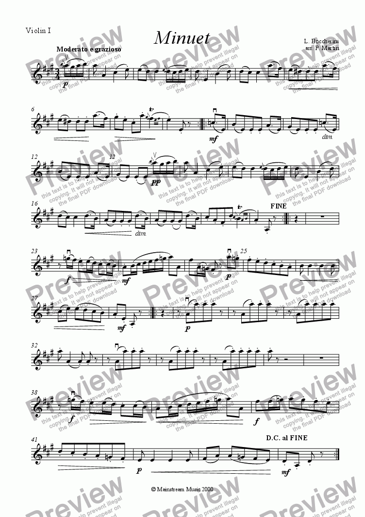 page one of the Violin 1 part from Minuet