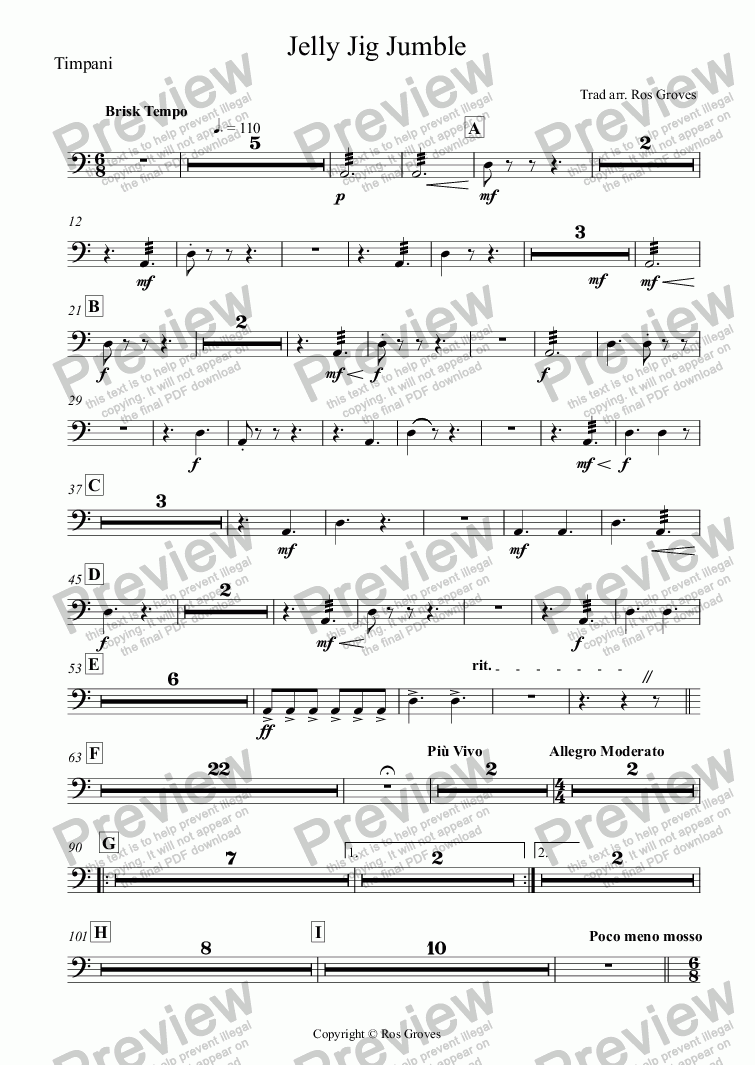page one of the Timpani part from Jelly Jig Jumble