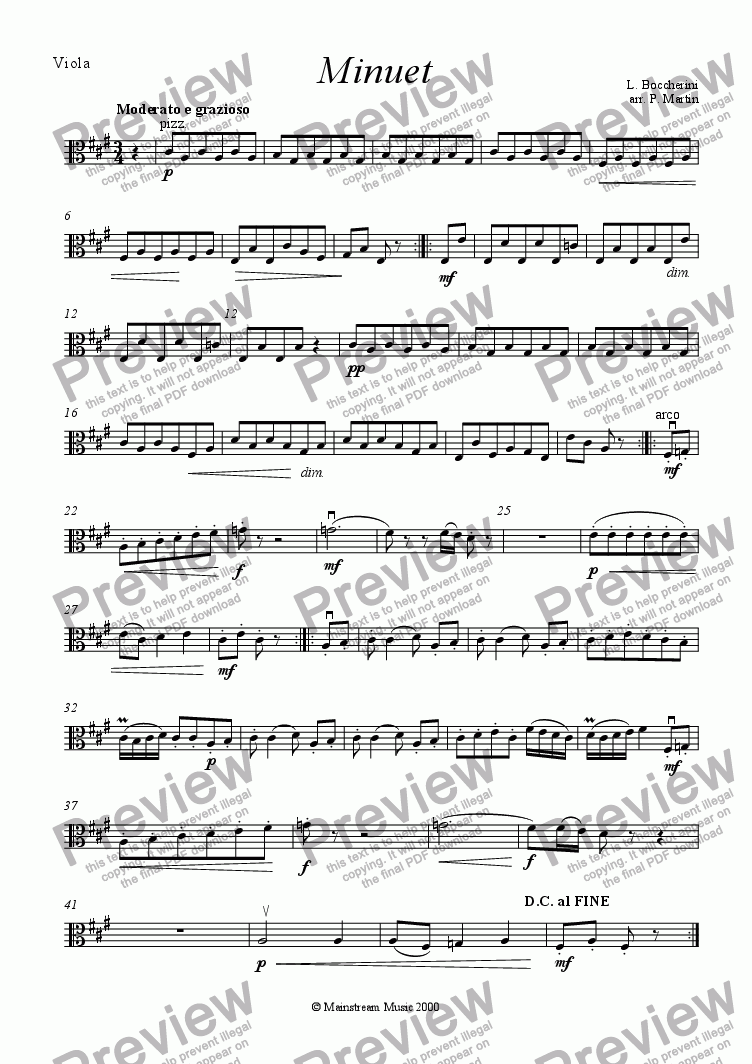page one of the Viola part from Minuet