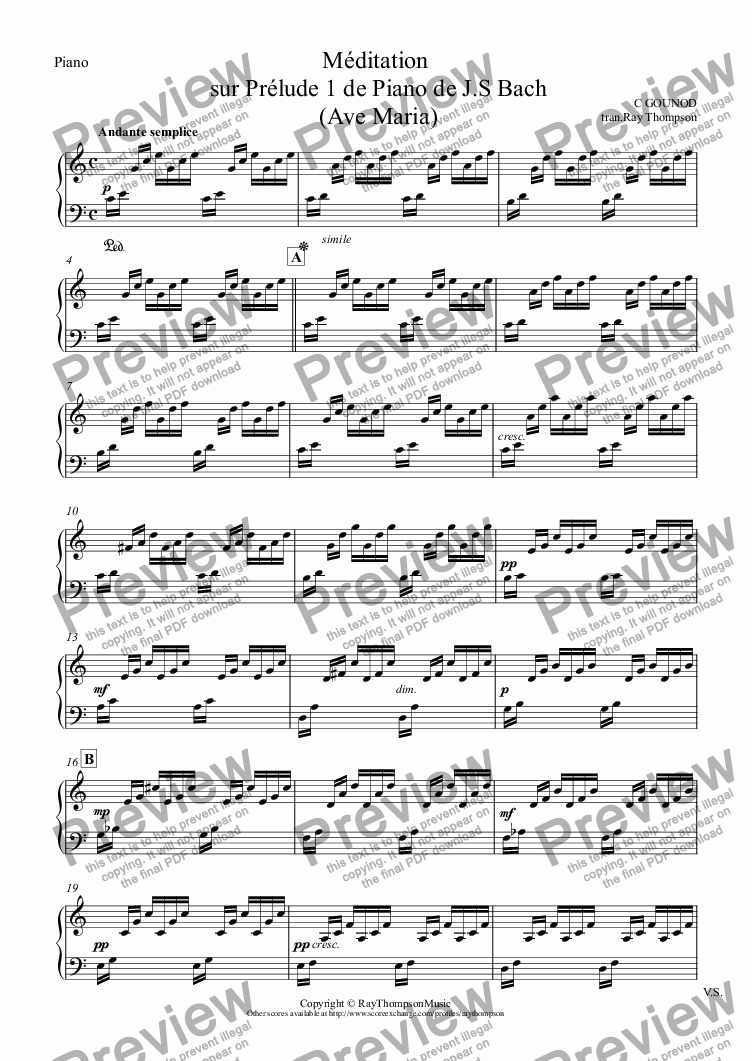 page one of the Piano part from Méditation sur Prélude 1 de Piano de J.S Bach  (Ave Maria)(Wedding Ceremony) arranged flute duet and piano