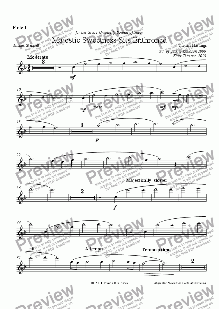 page one of the Flute 1 part from Majestic Sweetness Sits Enthroned (Flute Trio)
