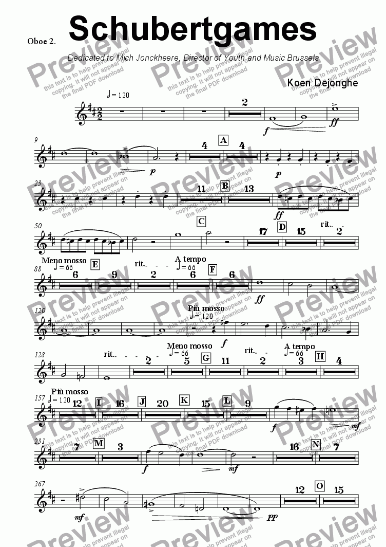 "page one of the Oboe 2 part from ""Schubertgames"""