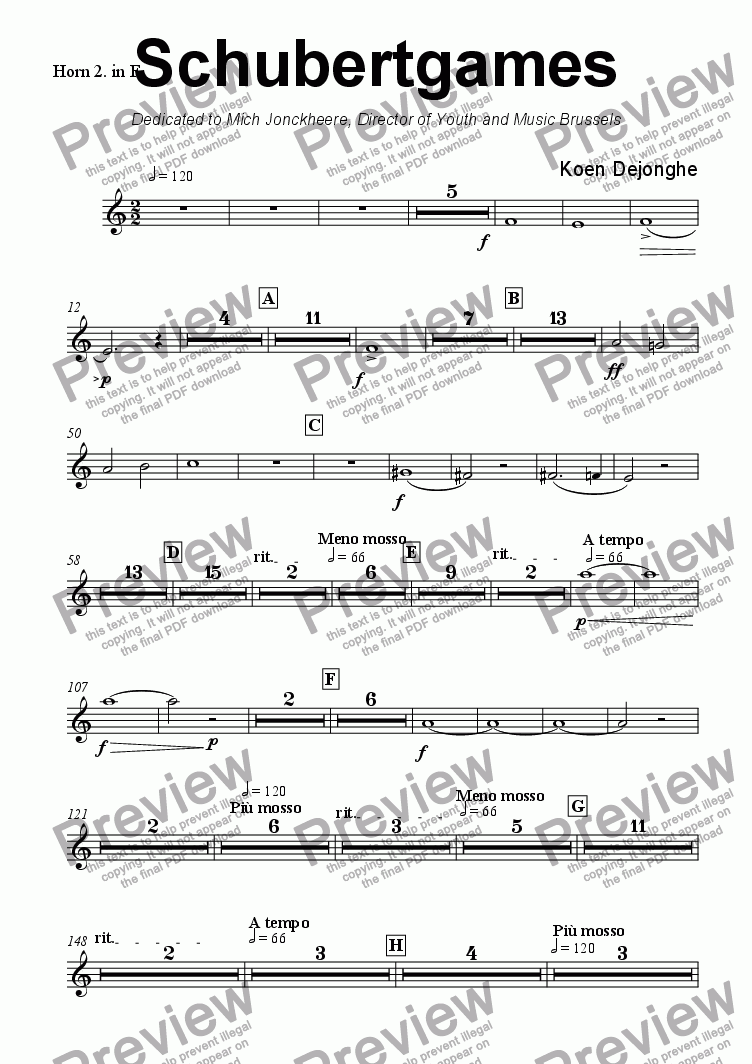 "page one of the Horn 2 in F part from ""Schubertgames"""