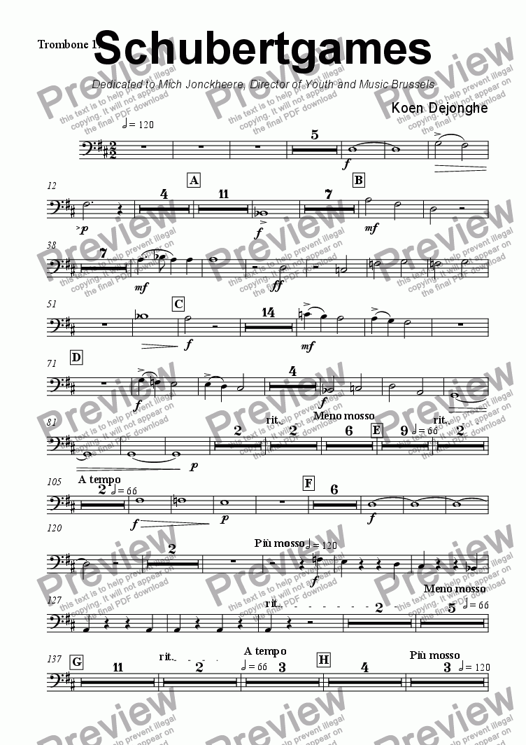 "page one of the Trombone 1 part from ""Schubertgames"""