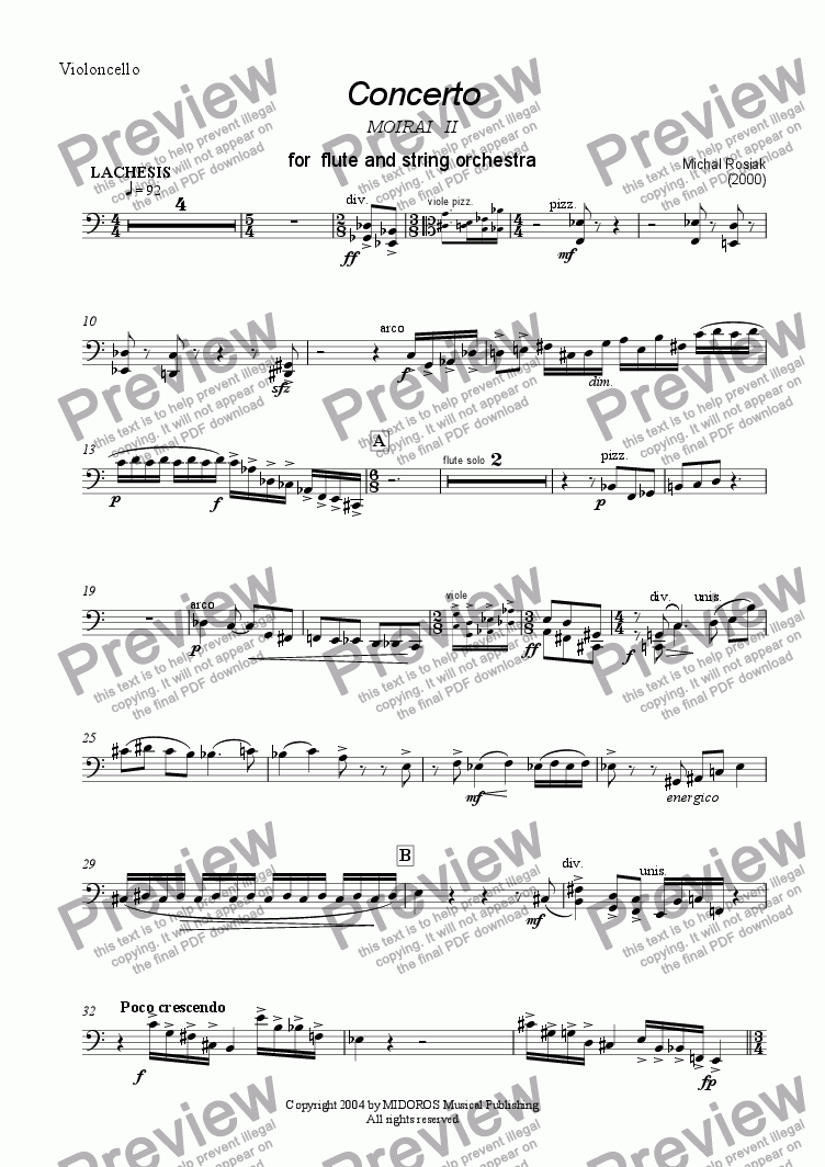 page one of the violoncello part from Concerto for Two Flutes and String Orchestra
