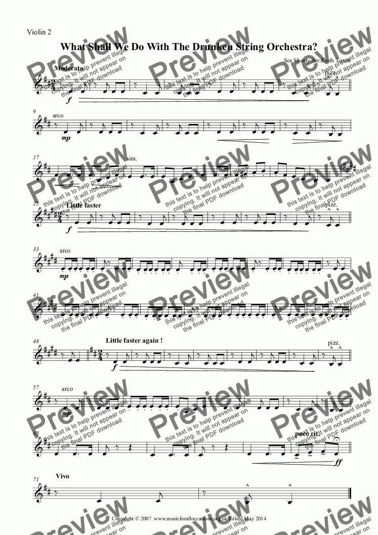 page one of the Violin 2 part from What Shall We Do With The Drunken School String Orchestra?