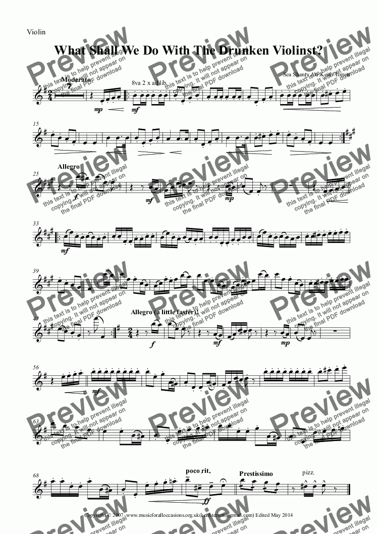 page one of the Violin part from What Shall We Do With The Drunken Violinst?