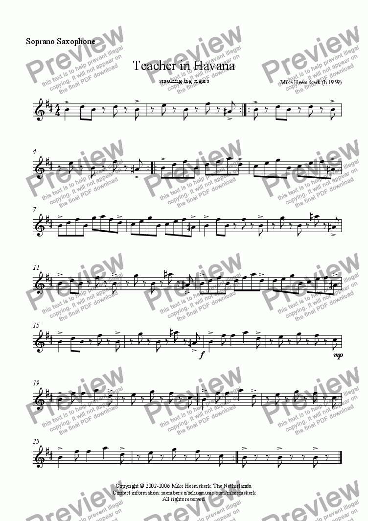 page one of the Soprano saxophone part from Teacher in Havana (sax4tet)
