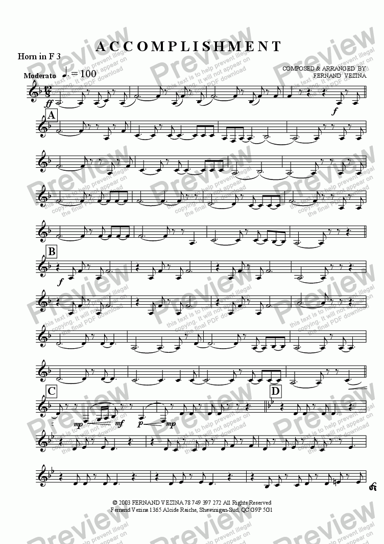 page one of the Horn in F 3 part from Accomplishment (Concert)