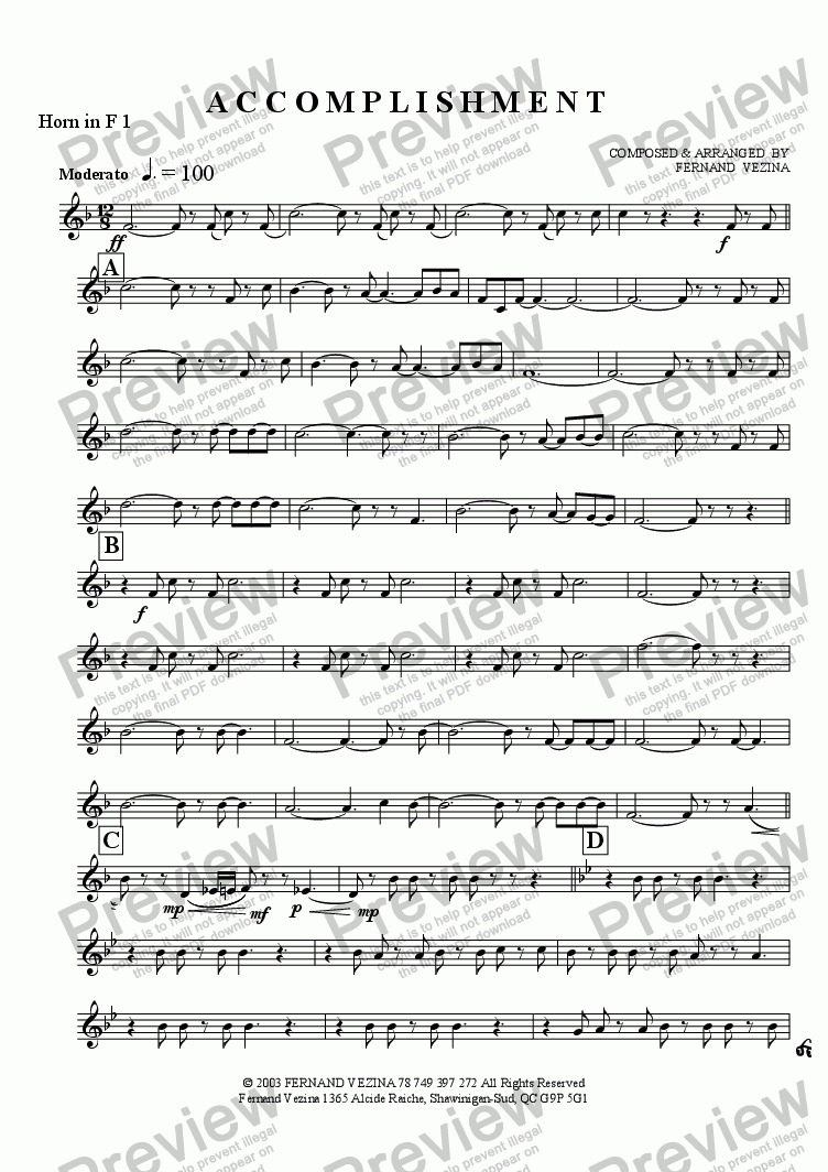 page one of the Horn in F 1 part from Accomplishment (Concert)