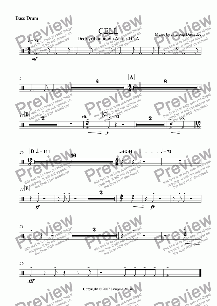 page one of the Bass Drum part from CELL 03 Deoxyribonuclelic Acid : DNA
