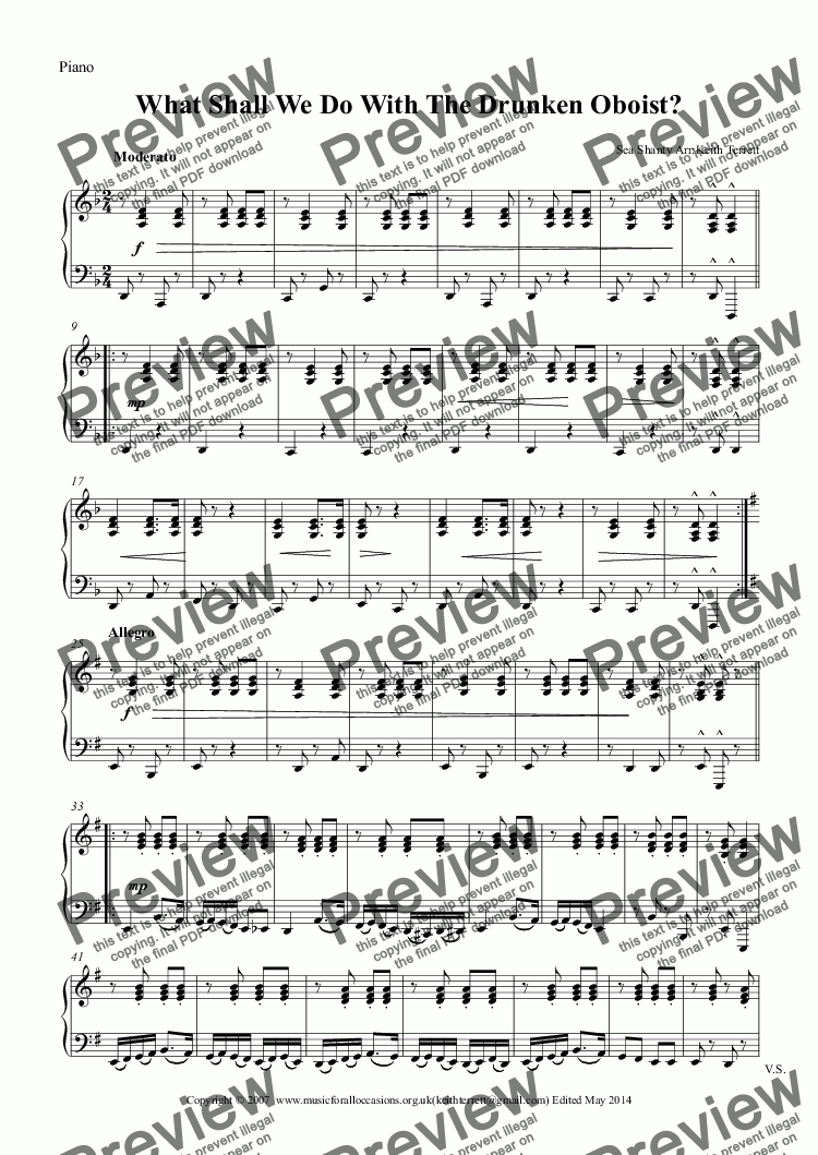 page one of the Piano part from What Shall We Do With The Drunken Oboist?
