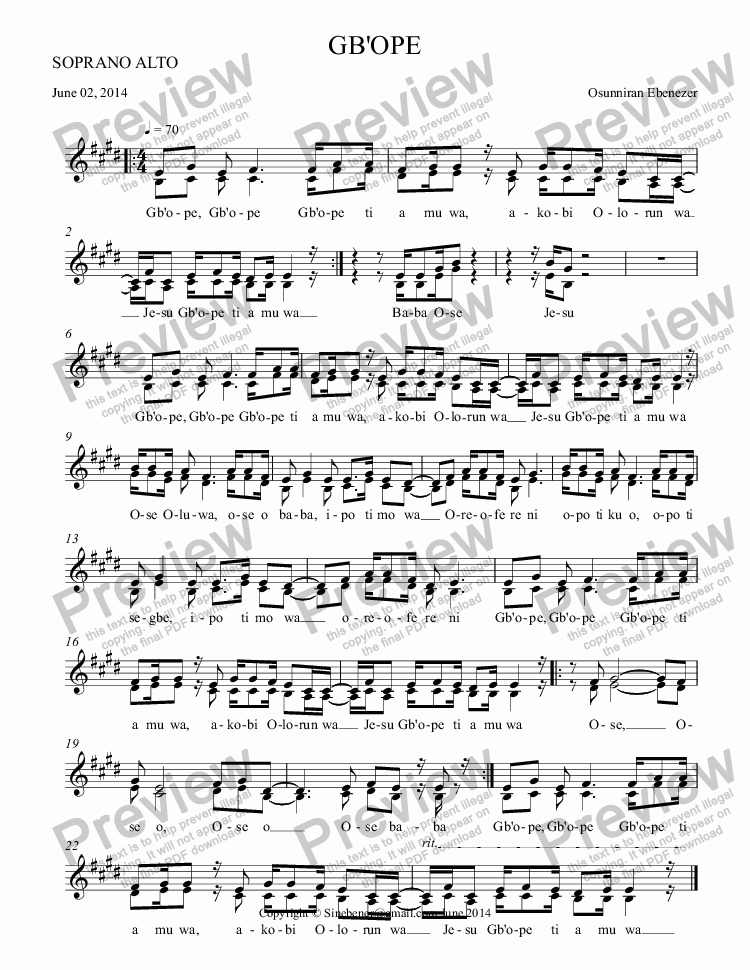 page one of the SOPRANO ALTO part from GB'OPE